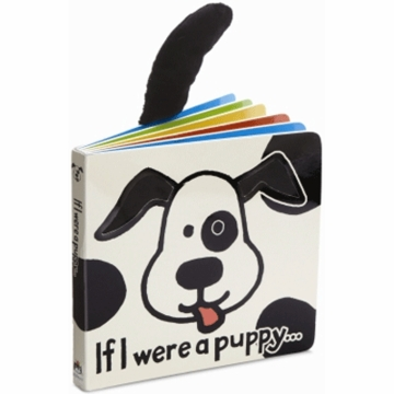 "Jellycat 6"" If I Were a Puppy Book Black/Cream"