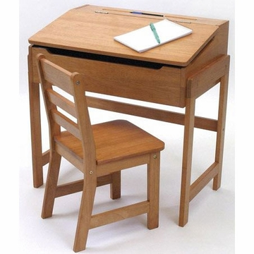 Lipper International Slanted Top Desk and Chair in Natural Acacia - 564A