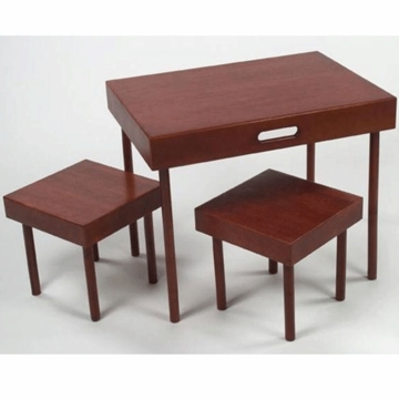 Lipper 3 Piece Portable Table & Stool Set Cherry