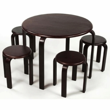 Lipper 5 Piece Table and Stool Set Espresso