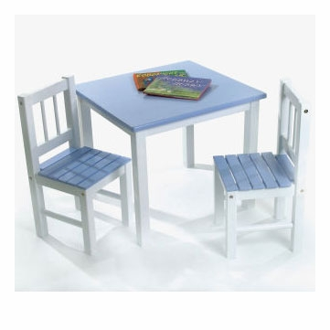 Lipper International Kids' Table and Chair Set in Blue and White - 513BL