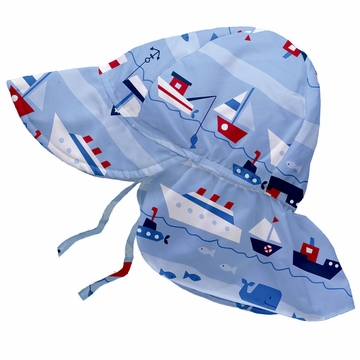iPlay Flap Sun Protection Hat - Classics Light Blue Boat Parade - Toddler (2-4 yrs)