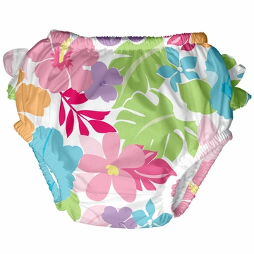 iPlay Ultimate Ruffle Swim Diaper - Classics White Tropical Floral - Large (18 mo)
