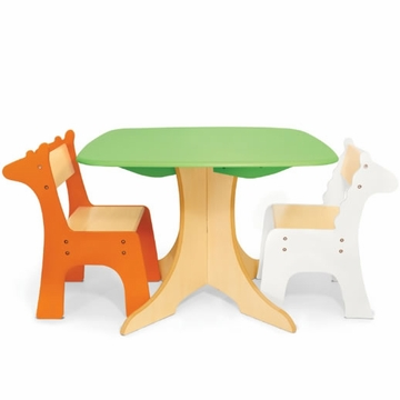 P'kolino Safari Collection Tree Table with Giraffe & Zebra Chairs