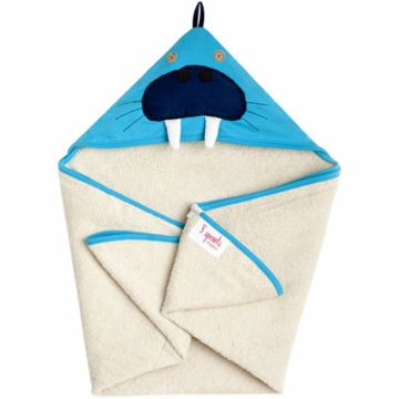 3 Sprouts Hooded Towel in Walrus Blue