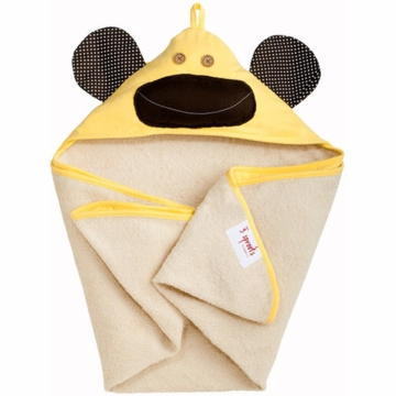 3 Sprouts Hooded Towel in Monkey Yellow