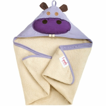 3 Sprouts Hooded Towel in Hippo Purple