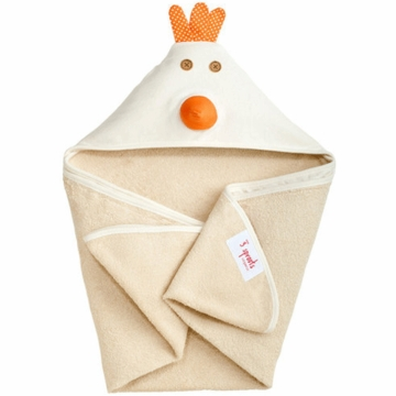 3 Sprouts Hooded Towel in Chicken Cream