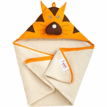 3 Sprouts Hooded Towel in Tiger Orange
