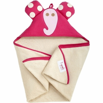 3 Sprouts Hooded Towel in Elephant Pink
