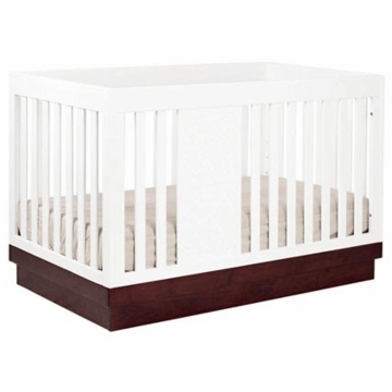 Babyletto Harlow 3-in-1 Convertible Crib with Toddler Rail in White/Espresso
