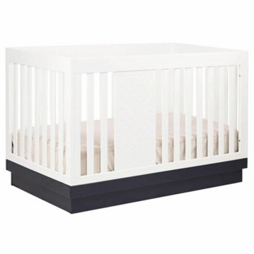 Babyletto Harlow 3-in-1 Convertible Crib with Toddler Rail in White/Navy