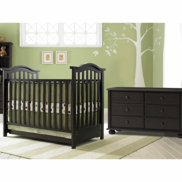 Bonavita Classic Hudson 2 Piece Nursery Set in Classic Cherry - Crib & Double Dresser