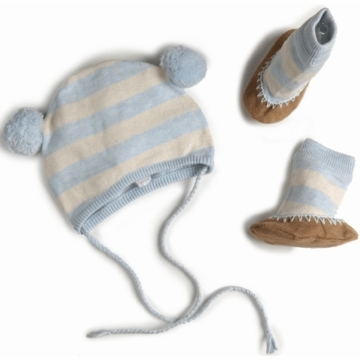EGG Striped Knit Hat & Booties Set in Blue - 3 to 6 Months
