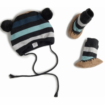 EGG Striped Knit Hat & Booties Set in Flint - 3 to 6 Months