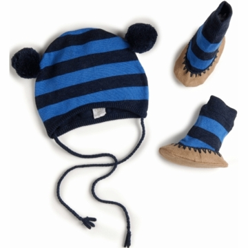 EGG Striped Knit Hat & Booties Set in Navy - 3 to 6 Months
