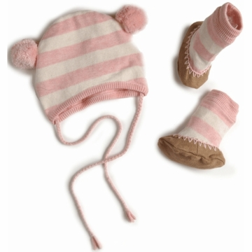 EGG Striped Knit Hat & Booties Set in Pink - 3 to 6 Months