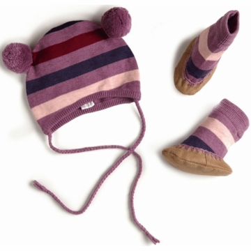 EGG Striped Knit Hat & Booties Set in Purple - 3 to 6 Months