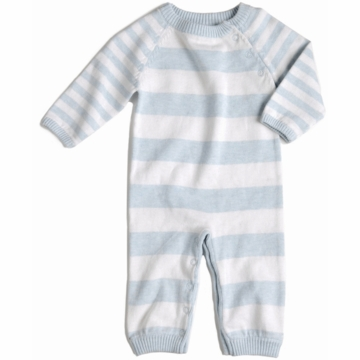 EGG Striped Knit Romper in Blue - 0 to 3 Months