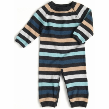 EGG Striped Knit Romper in Flint - 0 to 3 Months