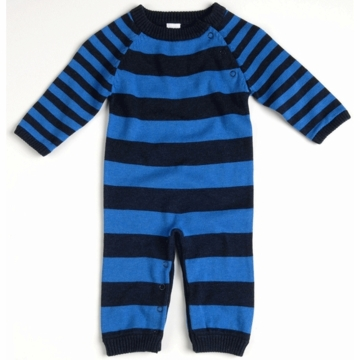 EGG Striped Knit Romper in Navy - 0 to 3 Months