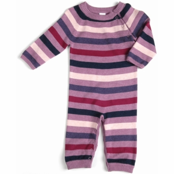 EGG Striped Knit Romper in Purple - 0 to 3 Months