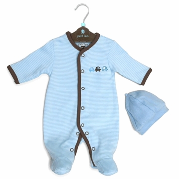 Petit Lem 2 PC Knit Footie Sleeper & Hat Set - Stripe Cars - PMB