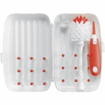 OXO Tot On-The-Go Drying Rack and Bottle Brush - Orange