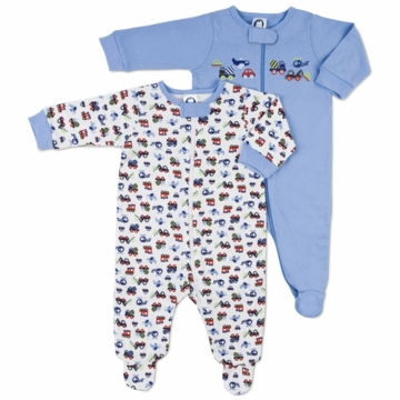 Gerber Boy 2 Pack Baby Zip Front Sleep 'N Play - 3-6 Months