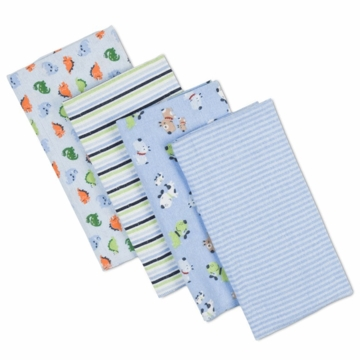 Gerber Boy 4 Pack Flannel Burp Cloths