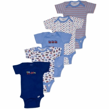Gerber Boy 5 Pack Short Sleeve Onesies - Newborn