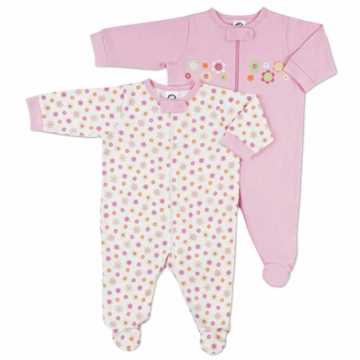 Gerber Girl 2 Pack Baby Zip Front Sleep 'N Play - 0-3 Months