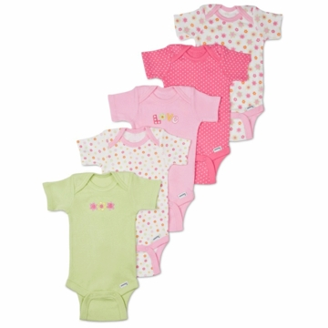 Gerber Girl 5 Pack Short Sleeve Onesies - 6 to 9 Months