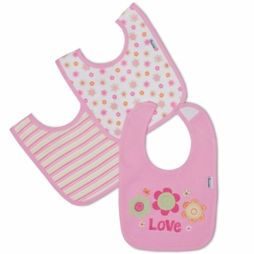 Gerber Girl 3 Pack Interlock Dribbler Bibs