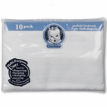 Gerber White 10 Pack Prefold Birdseye 3-Ply Cloth Diapers