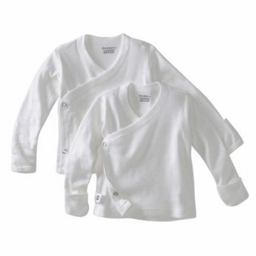 Gerber White 2 Pack Long Sleeve Side Snap Shirts With Mitten Cuffs - 0-3 Months
