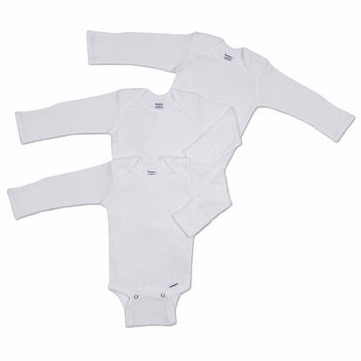 Gerber White 3 Pack Long Sleeve Onesies - 6-9 Months