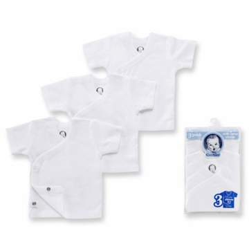 Gerber White 3 Pack Short Sleeve Side Snap Shirts - 0-3 Months