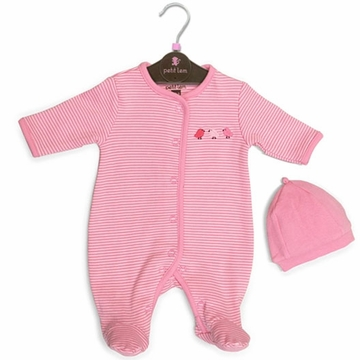 Petit Lem 2 PC Knit Footie Sleeper & Hat Set - Stripe Birds - PMB
