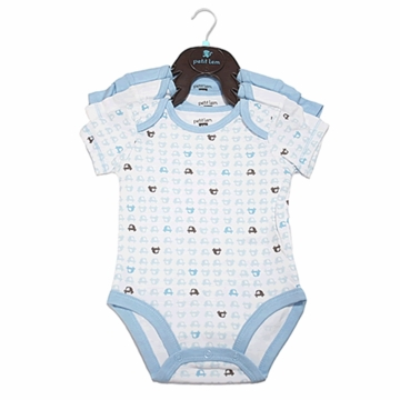 Petit Lem 3-Pack Knit Diaper Shirts - Small Cars - 3 Months