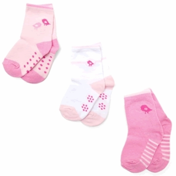 Petit Lem 3-Pack Knit Socks - Small Birds - 6 to 9 Months