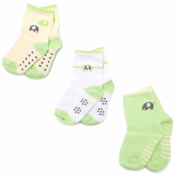Petit Lem 3-Pack Knit Socks - Small Elephants - Newborn to 3 Months