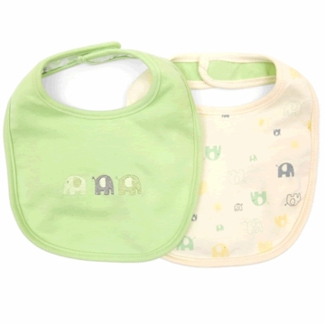 Petit Lem Dual Pack Knit Bib - Small Elephants
