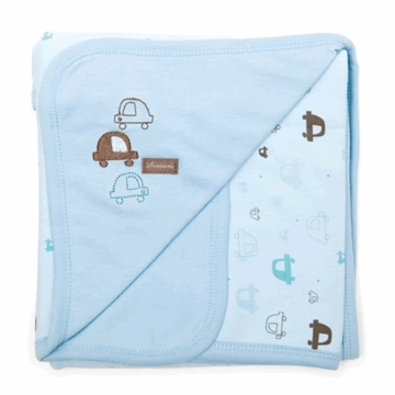 Petit Lem Knit Blanket - Blue Cars