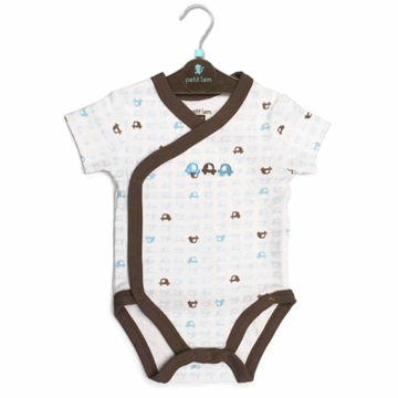 Petit Lem Knit Diaper Shirt - Small Cars - 3 Months