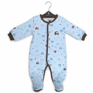 Petit Lem Knit Footie Sleeper - Blue Cars - 6 Months