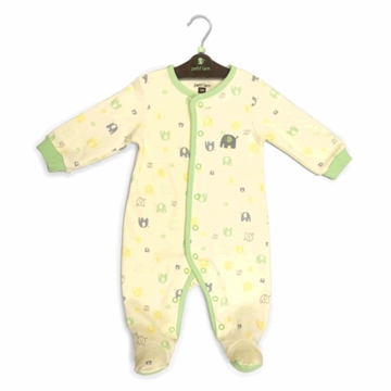 Petit Lem Knit Footie Sleeper - Green Elephant - 9 Months