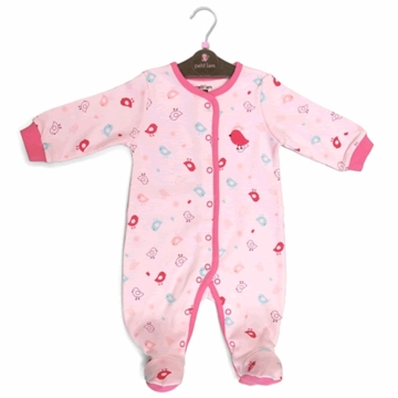 Petit Lem Knit Footie Sleeper - Pink Birds - Newborn