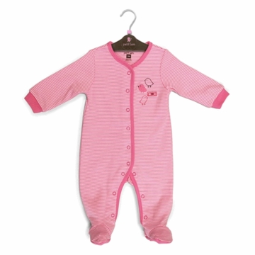 Petit Lem Knit Footie Sleeper - Stripe Birds - Newborn