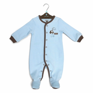 Petit Lem Knit Footie Sleeper - Stripe Cars - Newborn